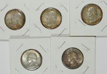 5 TONED QUARTERS: 3- 1957-D & 2- 1958 UNC - NICE TONING