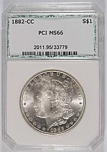1882-CC MORGAN SILVER DOLLAR, PCI MS-66  BLAST WHITE!!