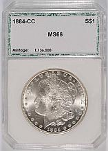 1884-CC MORGAN SILVER DOLLAR, PCI MS-66 BLAST WHITE!!