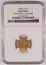 1860-S $2.50 GOLD LIBERTY NGC AU DETAILS (CLEANED)