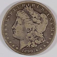 1890-CC MORGAN SILVER DOLLAR, VG