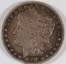 1891-CC MORGAN SILVER DOLLAR, SOLID XF  ORIGINAL, VERY MINOR RIM BUMP