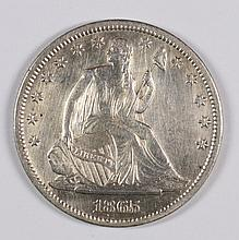 1865-S SEATED HALF DOLLAR AU-58