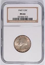 1943-S WASHINGTON QUARTER, NGC MS-66