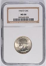 1944-D WASHINGTON QUARTER, NGC MS-66 BLAST WHITE!