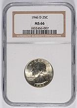 1946-D WASHINGTON QUARTER, NGC MS-66 BLAST WHITE!