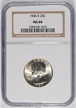 1946-S WASHINGTON QUARTER, NGC MS-66 BLAST WHITE!