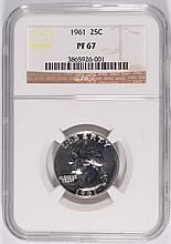 1961 WASHINGTON QUARTER, NGC PROOF-67 SUPERB COIN!!