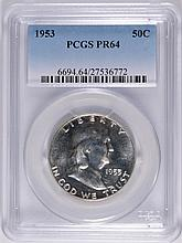 1953 FRANKLIN HALF DOLLAR, PCGS PROOF-64