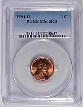 1954-D LINCOLN CENT, PCGS MS-65 RED