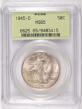 1945 D WALKING LIBERTY HALF PCGS MS65 GREEN LABEL GEM
