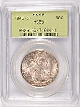 1945 S WALKING LIBERTY HALF PCGS MS65 GREEN LABEL GEM