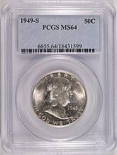 1949-S FRANKLIN HALF DOLLAR PCGS MS64