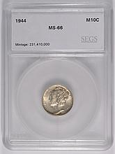 1944 MERCURY DIME, SEGS MS-66!