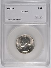 1942-S WASHINGTON QUARTER, SEGS MS-65 GEM!  SCARCE!