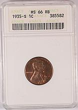 1935-S Lincoln Cent ANACS MS-66RB