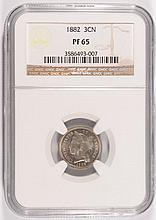 1882 Proof Three Cent Nickel NGC PF-65