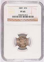1889 Proof Three Cent Nickel NGC PF-65
