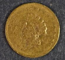 1855-C $1 GOLD VF/XF RIM BUMPS RARE CHARLOTTE ISSUE