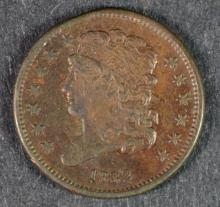 1832 HALF CENT AU/UNC SOME RED, NICE