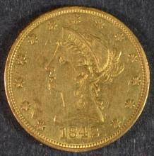 1842-O $10 GOLD LIBERTY AU