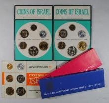 5 JEWISH PROOF SETS; 1966, 2- 1967, 1971, 1973 ORIG PACK