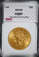 1904 $20.00 GOLD LIBERTY RNG GEM UNC