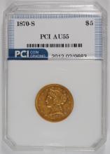 1870-S $5.00 GOLD LIBERTY, PCI AU
