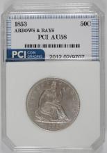1853 ARROWS AND RAYS SEATED HALF DOLLAR, PCI AU/BU