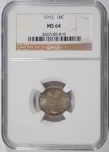 1912 BARBER DIME, NGC MS-64