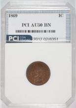 1869 INDIAN HEAD CENT, PCI AU BROWN