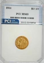 1914 $2.50 GOLD INDIAN HEAD, PCI CHOICE BU!