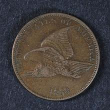 1858 S.L. FLYING EAGLE CENT, XF/AU NICE!