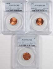 ( 3 ) PCGS GRADED MS-67 RED LINCOLN CENTS: 1979, 82 & 83-D