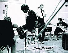 GEORGE MARTIN SIGNED BEATLES REHEARSALS PHOTO.