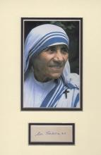 MOTHER TERESA SIGNED ALBUM PAGE.