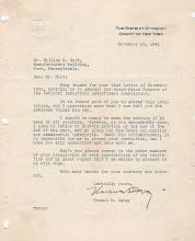 THOMAS E DEWEY OFFICIAL TYPED AND SIGNED LETTER