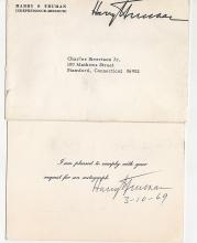 HARRY S TRUMAN SIGNED CARD.