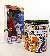 SPICE GIRLS SCARY SPICE DOLL AND CHUPA CHUPS SWEET TIN.