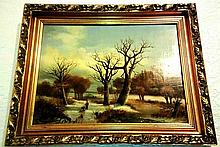 OIL PAINTING OF A WINTER SCENE BY K VAN BURGH