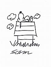 CHARLES SCHULZ:  SNOOPY SLEEPING ON HIS DOG HOUSE.