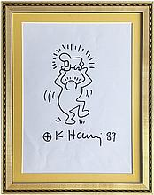 KEITH HARING: DANCING MAN WITH RADIANT BABY.