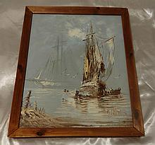 B.WILDER OIL PAINTING OF SAILING BOATS