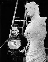 RAUSCHNBERG AT MOMA HAPPENINGS 1962 BILL RAY SIGNED SILVER GELATIN PRINT.