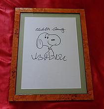CHARLES SCHULZ: DRAWING OF SNOOPY.