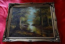 OIL PAINTING OF A FOREST BY HANSON.
