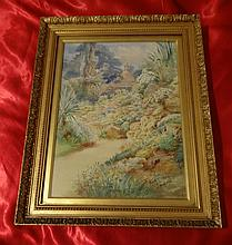 EDITH E MORRIS SIGNED WATER COLOUR GARDEN.