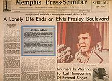 ELVIS PRESLEY DEATH NEWSPAPER FROM MEMPHIS 16 AUGUST 1977