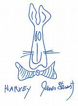 JAMES STEWART SIGNED HARVEY DRAWING.