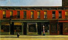 EDWARD HOPPER: EARLY SUNDAY MORNING 1930 OIL PAINTING REPRODUCTION.